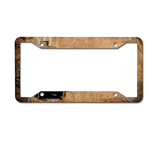 Headwind tactics tag Frame License Plate Frame Designed Metal Car tag Cover 12 x 6 inch Steam Engine Set Antique Old Iron Train Aged Sepia Grunge Style Design Industrial Theme -