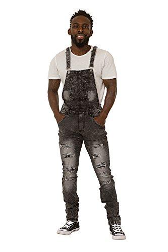 - Highness Men's Bib Down Overalls – Washed Black Denim Slim Fit Destroyed Denim Detachable