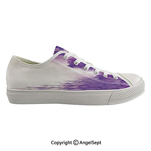 - Durable Anti-Slip Sole Washable Canvas Shoes 14.96inch Iris Flowers Petals Against The Water River Mystical Magical Fairy Nature Image,Violet White Flexible and Soft Nice Gift