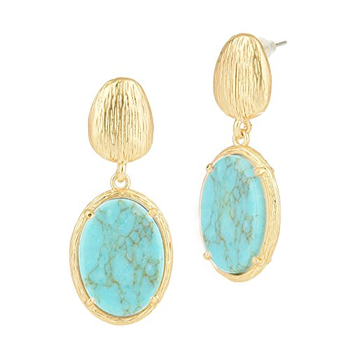 Pearl Turquoise Mother Earrings Of (Gold Tone Brushed Pebble Dangling Oval Opaque Stone Earrings (Reconstitute Turquoise))