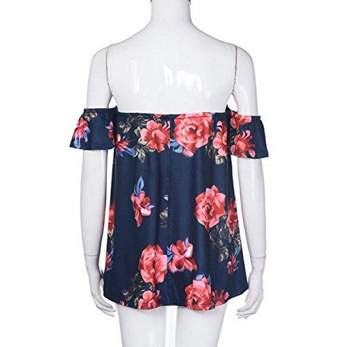 ✽Internet�?Mujeres de manga corta de blusa rayada hombro Negro