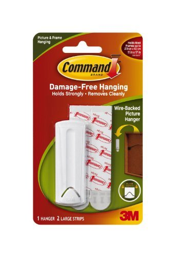 Command Wire Back Picture Hanger, White, 4-Hanger