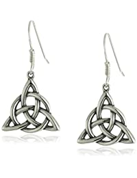 Sterling Silver Celtic Triquetra Knot Triangle Drop Earrings