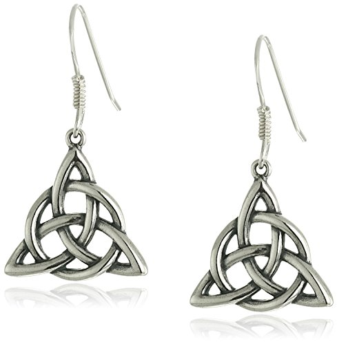 Sterling Silver Triquetra Triangle Earrings