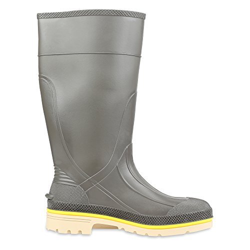 Servus Pro+ 15 PVC Chemical-Resistant Steel Toe Mens Work Boots, Gray, Yellow & Beige (75105)