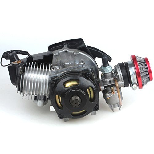 49CC 2-Stroke Engine + Handle Bar+ Throttle Cable +Air Filter Motor Pocket Mini Bike Scooter ATV 6T T8F Chain 44MM Bore by Wingsmoto (Image #2)