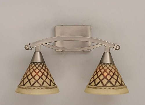 Toltec Lighting 172-BN-7185 Bow - Two Light Bath Bar, Brushed Nickel Finish with Chocolate Icing Glass