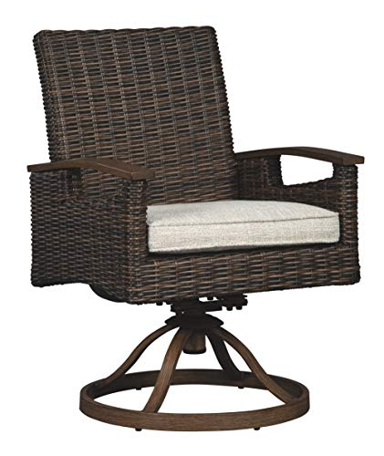 - Ashley Furniture Signature Design - Paradise Trail Outdoor Swivel Chairs - Set of 2 - Wicker - With Cushions - Medium Brown
