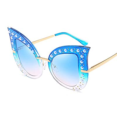 [emailprotected] Luxury Diamond Cat Eye Lunettes de soleil femme grande marque Frame Pearls Lunettes de soleil Gradient Mesdames femelle