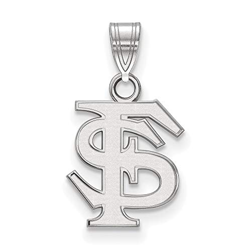 (FB Jewels Solid Sterling Silver Logo Art Florida State University Small Pendant)