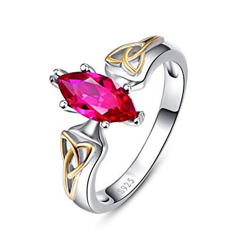 Ring Steel Created Ruby Stainless - Merthus 925 Sterling Silver Created Ruby Celtic Knot Infinity Love Wedding Band Stackable Engagement Ring for Women