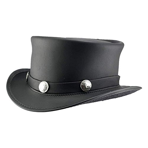 American Hat Makers EL Dorado-Buffalo Band by Voodoo Hatter Leather Top Hat, Black Finished-Buffalo Band - X-Large by American Hat Makers