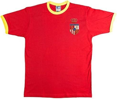 Retro España 1970s Fútbol camiseta nueva tallas S-XXL Logotipo Bordado - algodón, Rojo, 100% algodón, Hombre, Small: Amazon.es: Ropa y accesorios