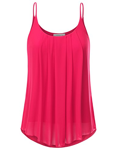 JJ Perfection Women's Pleated Chiffon Layered Cami Tank Top Fuchsia ()