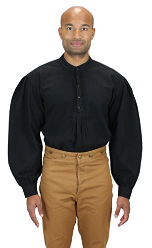 [Historical Emporium Men's Fundamental Cotton Work Shirt XL Black] (Sweeney Todd Halloween)