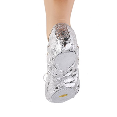 De Pointe Plata Zapatos Ballet Baile Gimnasia De Mujer para Lentejuelas brillante Cuero MagiDeal Plata Muchacha w84RqF08O