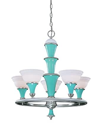 Savoy House 1-2409-5-203 Aqua Velvet Joe s Diner Art Deco / Retro Five Light Up Lighting Chandelier