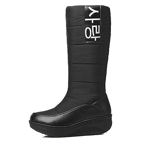 Women's Trendy Solid Waterproof Faux Fur Lined Pull On Mid Calf Mid Heel Platform Warm Winter Snow Boots