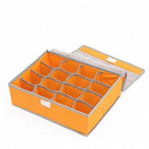 U-beauty 16 Cell Slots Panty Underwear Bras Drawer Closet Organizer Storage Box Case Orange