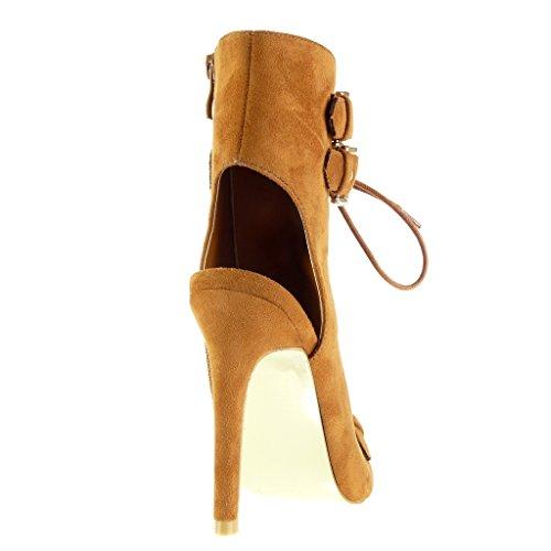 Angkorly - Zapatillas de Moda Botines Sandalias stiletto abierto mujer tanga Hebilla encaje Talón Tacón de aguja alto 12 CM - Camel