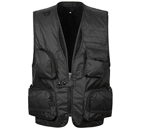 Herren Sportlich Schnell Trocknend Taktische Weste Multitasche Anglerweste Jacke Fotografie,Black-XXXXL