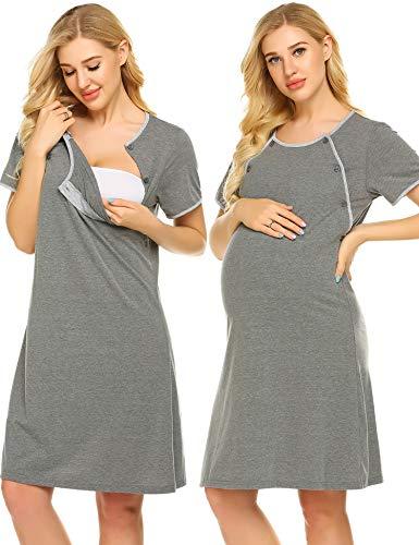 Ekouaer Nursing Nightgown Nightdress Hospital Gown Delivery/Labor/Maternity/Pregnancy Soft Breastfeeding Dress,Bdark - Gown Nursing Hospital