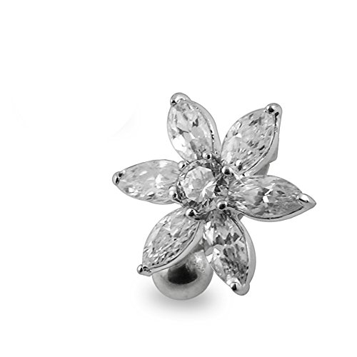 (White Gemstone Fancy Flower Reverse Bar 925 Sterling Silver with Stainless Steel Belly Button Rings)