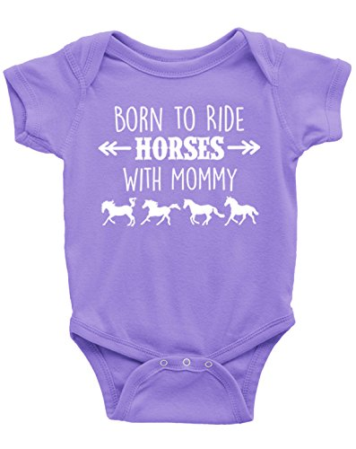 Born to Ride Horses with Mommy, Short Sleeve Horse Bodysuit, Baby Boy or Girl (6 Months, Lavender)