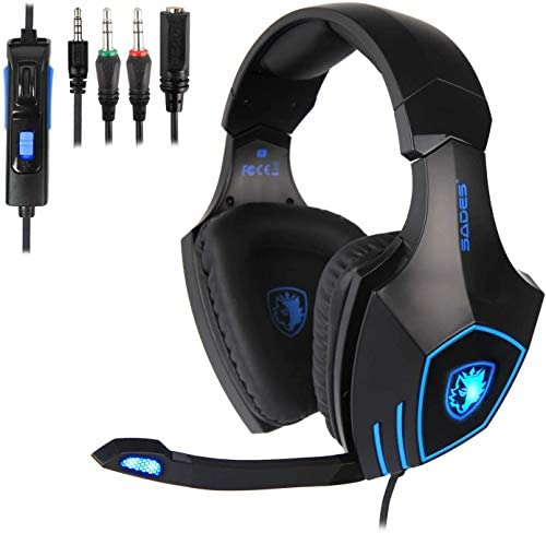 PS4 Gaming Headset, SADES Stereo PC Xbox one Gaming Headset with Mic, Noise Cancelling Over Ear Gaming Headphones with Soft Memory Earmuffs for Xbox one / PS4/ Laptop/Mac (Black)