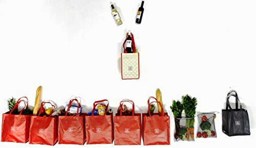 (7 Large Reusable Grocery Shopping Bags in 1 Premium Compact Organizer. Our Stylish and Durable Tote has assorted bags that meet all your Shopping Needs. Perfect for the Savvy)