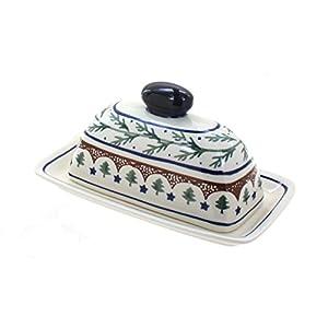 Blue Rose Polish Pottery Evergreen Butter Dish