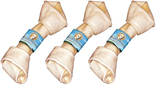 Flat Knot Rawhide Bone ((3 Pack) Premium USA Beef Hide - Flat Knot Bone, 10 To 11 Inches each)