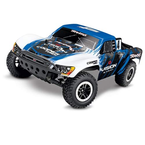 Traxxas Slash 1/10 Scale 2WD Short Course Racing Truck with TQ 2.4 GHz Radio System, Blue/White (1 5 Scale Rc Short Course Truck)