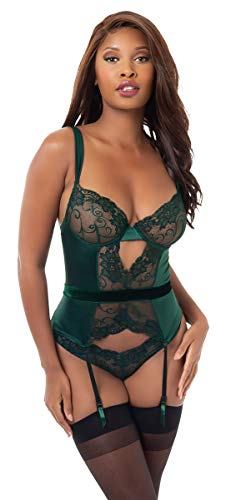 Dreamgirl Women's Romantic Stretch Lace and Satin Bustier Set, Evergreen - Dreamgirl Sets Bustier