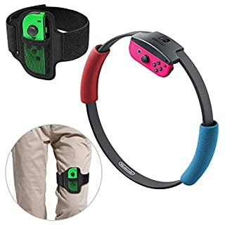 Leg Strap for Nintendo Switch Joycon, Adjustable Elastic Sport Movement Leg Fixing Strap for Nintendo Switch Game with 2 Ring-Con Grips