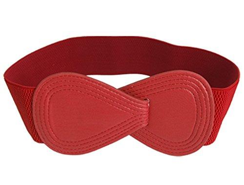 Ladies Interlocking 8-shaped Buckle Elastic Red Waist Belt
