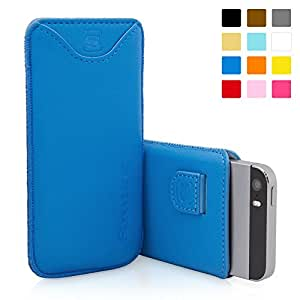 iPhone 5 / 5S / SE Case, SnuggTM - Blue Leather Pouch Cover with Card Slot & Soft Premium Nubuck Fibre Interior - Protective Apple iPhone 5 / 5S / SE Sleeve Case - Includes Lifetime Guarantee