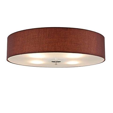 QAZQA Modern Deckenleuchte Deckenlampe Lampe Leuchte Drum Mit Schirm 50 Rund Braun