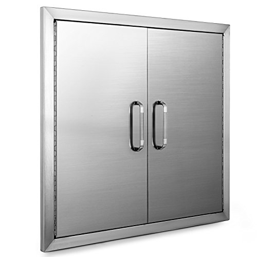 """(OrangeA Double walled Access Door 26""""x 24""""BBQ Island Door Stainless Steel for Commercial BBQ Island, Outdoor Grilling Station, Outdoor Kitchen, Flush Mount, Brush Finished)"""