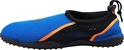 Norty Mens Aqua Chaussettes Eau Vague - 4 Combinaisons De Couleurs - Slip-ons Imperméables Pour Piscine, Plage Et Sport Royal / Orange