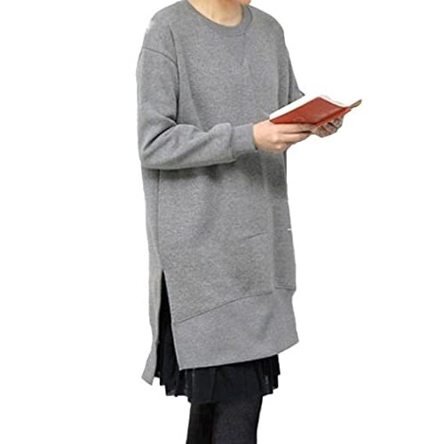 Wholesale DITTMURI Women's Long Sleeve Pullover Side Slit Asymmetric Hem Sweatshirt Dress free shipping