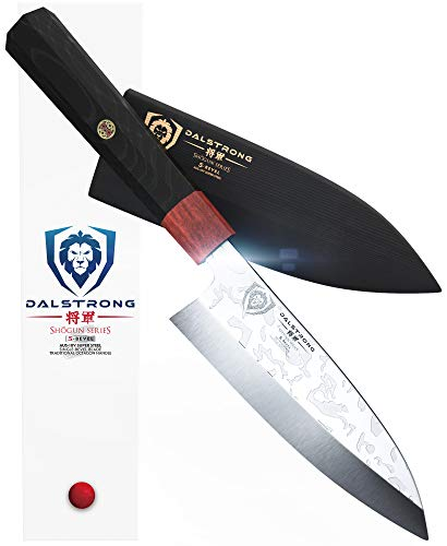 "DALSTRONG Deba Knife- SHOGUN Series 'S' - Single Bevel - 6"" Blade - Wood Sheath"