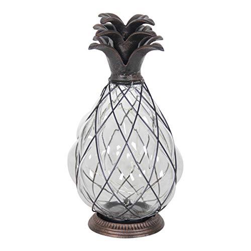 Exhart Pineapple Cast Iron Lantern 12 LED Firefly Lantern - Outdoor Pineapple Décor Tabletop Glass Lantern in Metal Cage - Pineapple Solar Lantern, LED Metal Lantern - Clear Glass 6