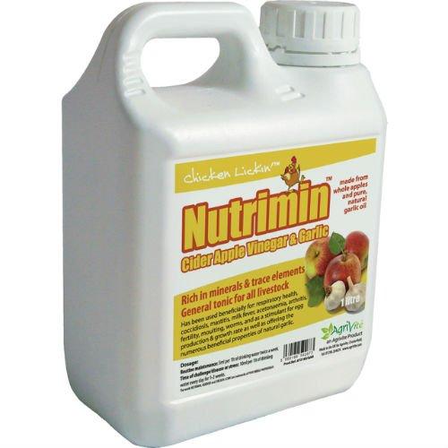 Nutrimin Cider Apple Vinegar and Garlic 1 Litre for Chickens Poultry Hatching Eggs