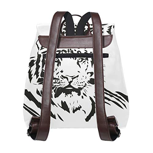 Svartvit tiger ryggsäck handväska mode PU-läder ryggsäck ledig ryggsäck för kvinnor