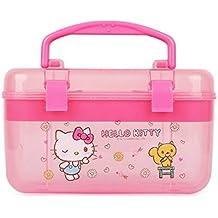Sanrio Hello Kitty Multi Jewelry Case Box Desk Organizer Box : Pink