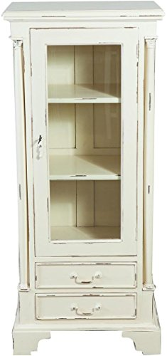 - Biscottini Empire Style Solid Wood Mahogany Antiqued White Finish W55x DP35xH127 cm Sized Display case
