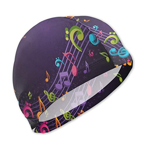 BRADL Swim Cap Polyester Music Notes Purple UV Protection Lightweight Swimming Cap for Kids