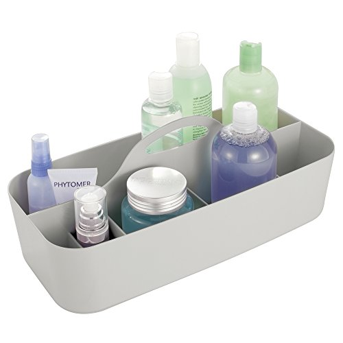 (mDesign Plastic Portable Storage Organizer Caddy Tote - Divided Basket Bin with Handle for Bathroom, Dorm Room - Holds Hand Soap, Body Wash, Shampoo, Conditioner, Lotion - Extra Large - Light Gray)