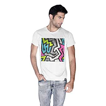Creo Abstract 01 Retro Printed T-Shirt For Men - S, White